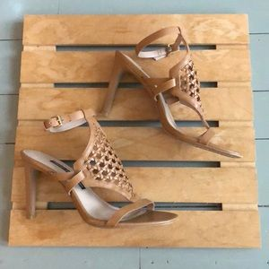 French Connection tan heels sandals size 7.5